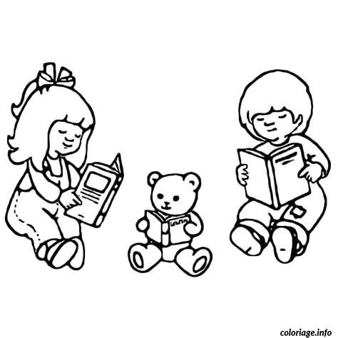 coloriage enfants nounours livres jecolorie