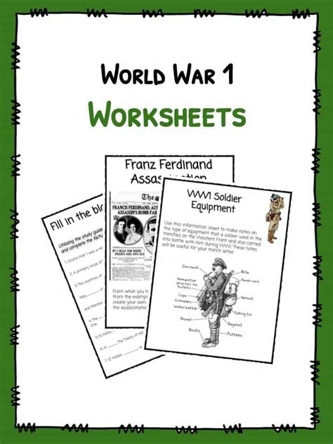 world war i ww1 worksheets facts information for