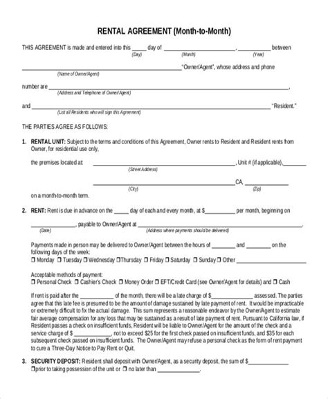 Office Space Rental Agreement by Month To Month Lease Agreement Rental Agreement S In