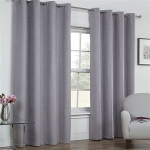 Textured woven plain thermal blackout linen look eyelet for Gray curtains texture