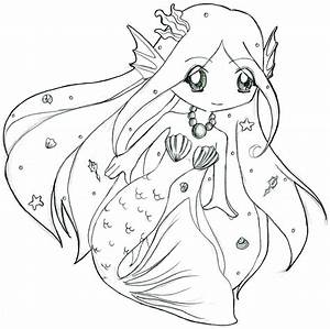 Cute Anime Mermaid Pages Coloring Pages