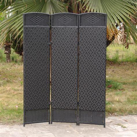 outdoor indoor woven resin 3 panel room divider black