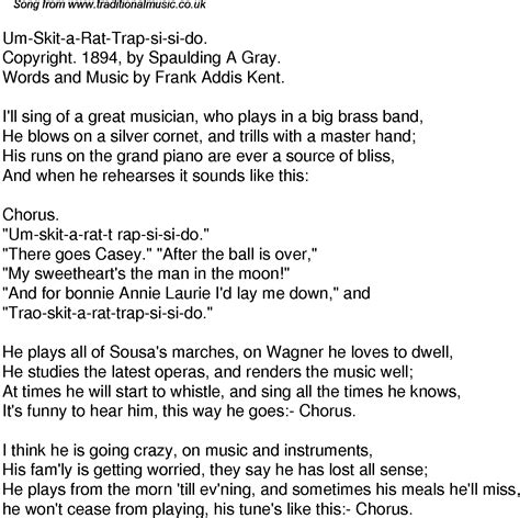 Meme Si Lyrics - meme si lyrics old time song lyrics for 44 um skit a rat trap si si do