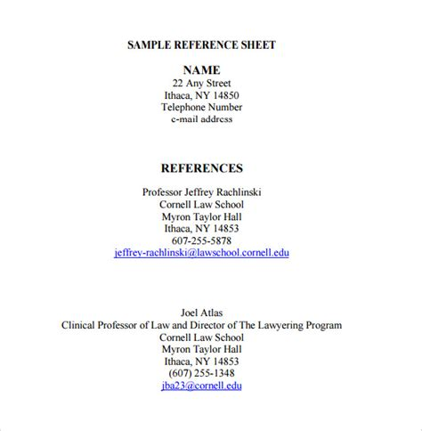 Reference Sheet Template Reference Sheet Template Template Business