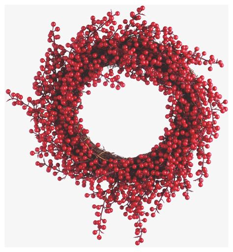 floreo red plastic berry wreath contemporary wreaths