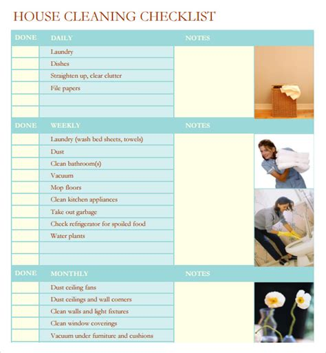 professional house cleaning checklist template task list