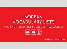 Learn Korean with Free Vocabulary Lists KoreanClass101