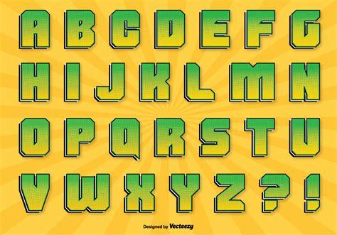 comic style alphabet set   vector art stock