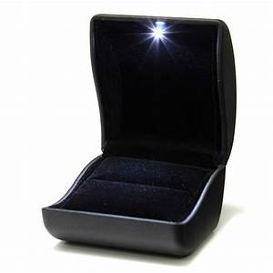 buy luxury black pu leather led lighted ring box jewelry With ring case for wedding