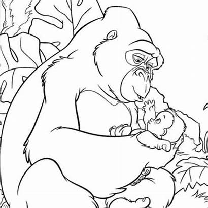 Pages Coloring Tarzan Kong King Colouring Disney
