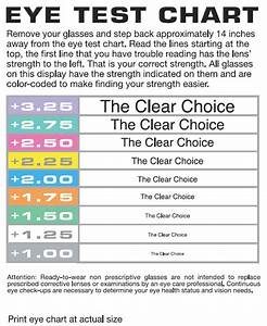 Diopter Chart Diopter Chart For Reading Glasses Glasses