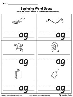 ag word family match letter and write the word beginning word sound ag words myteachingstation 28059