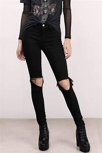 Black Denim Jeans - Black Jeans - Distressed Jeans - Black Denim - $42 | Tobi US