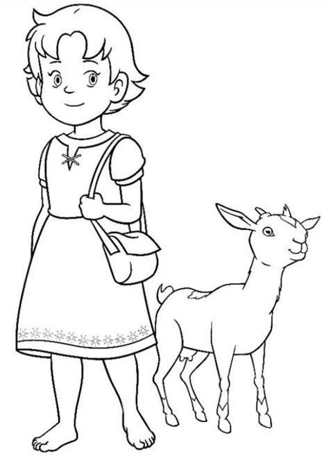 kids  funcom  coloring pages  heidi girl   alps