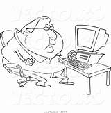 Coloring Fat Outline Cartoon Computer Potato Vector Tall Person Template Overweight Toonaday Chubby Leishman Ron Vecto Rs Short sketch template