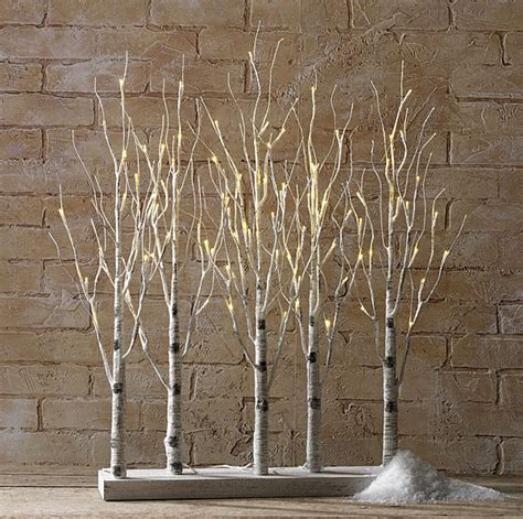 christmas light decorations indoor birch bark branches