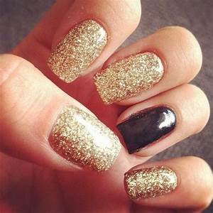 Gold Glitter And Black Nails Pictures, Photos, and Images ...