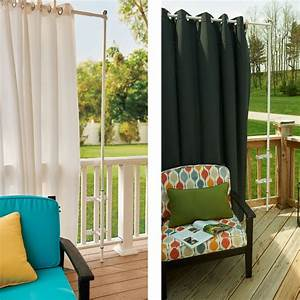 Throwing a party on your deck attach a deck curtain rod for Outdoor balcony curtains