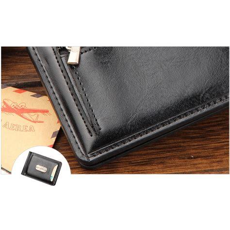 dompet kartu dengan klip uang kertas berbahan kulit