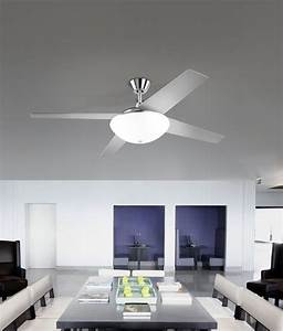 Ceiling fan with white glass diffuser and reversible blades