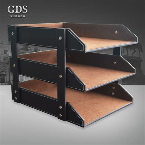 Office Desk Rack by Gardensun 3 Layer Brown Leather Office Document Tray