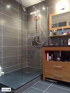 carrelage sol salle de bain noir brillant peinture With carrelage rectangulaire salle de bain