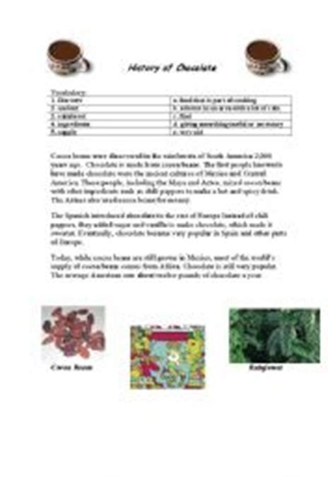 worksheet history of chocolate