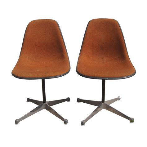 2 vintage herman miller eames upholstered fiberglass