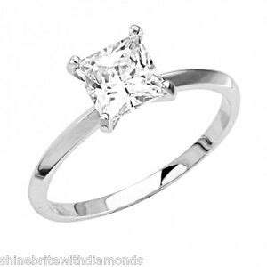 1 30 ct princess cut solitaire engagement wedding ring real solid 14k white gold