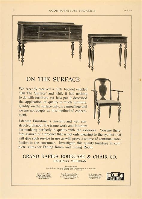 1918 ad grand rapids bookcase chair company sideboard