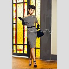 Le Palais Vintage Retro Pin Up Houndstooth Pencil Off Shoulder Dress  Vintage, Pin Up And