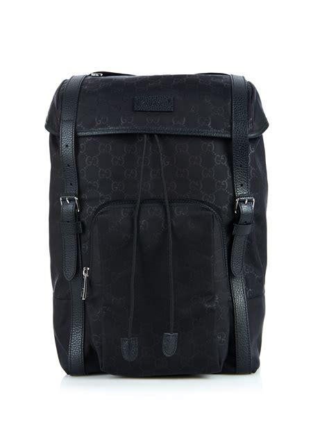 gucci monogram gg nylon backpack  black  men lyst