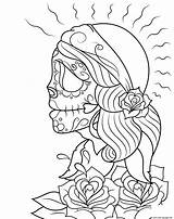 Coloring Dead Gypsy Skull Printable Sugar Skulls Calavera Adults Dia Muertos Los Catrina Drawing Kleurplaten Supercoloring Colouring Getcolorings Adult Tattoo sketch template