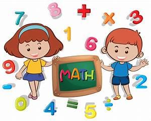 Niño y niña con muchos números | Descargar Vectores gratis