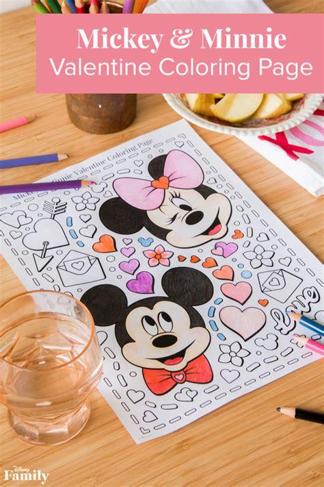 mickey minnie valentine coloring page disney family