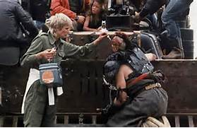Mad Max 2 on set with Vernon Wells as Wez during make-up prep   Vernon Wells Mad Max