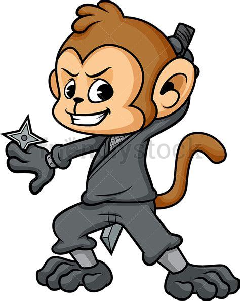 Monkey Ninja Cartoon Vector Clipart Friendlystock