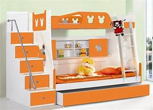Bedroom Cute Orange And White Themes With Double Deck Bunk