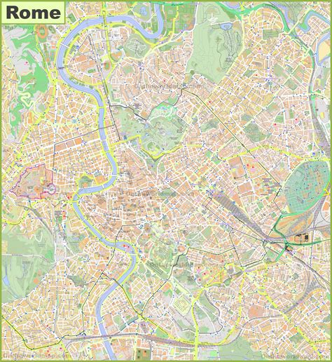 large detailed map  rome