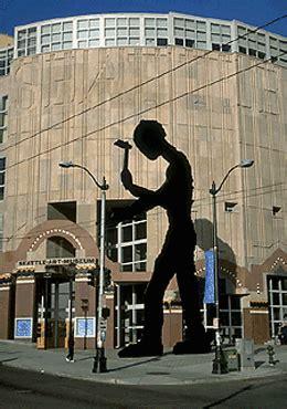seattle art museums hammering man falls  september