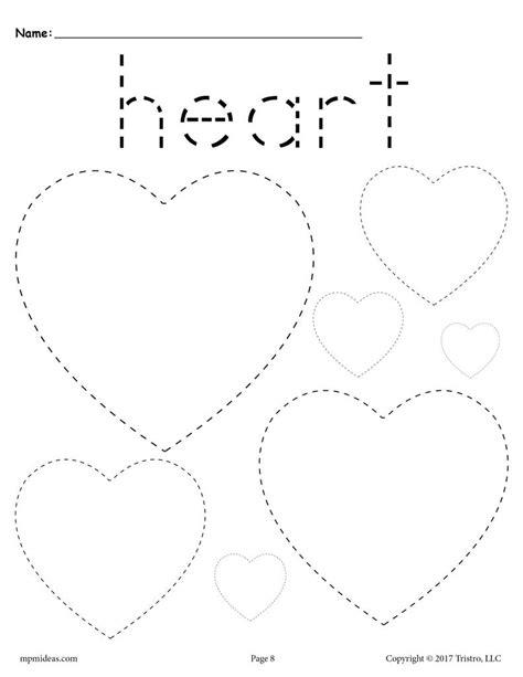 free hearts tracing worksheet tracing shapes worksheets 845 | Various 20Shapes 20Tracing 20pages heart 1024x1024