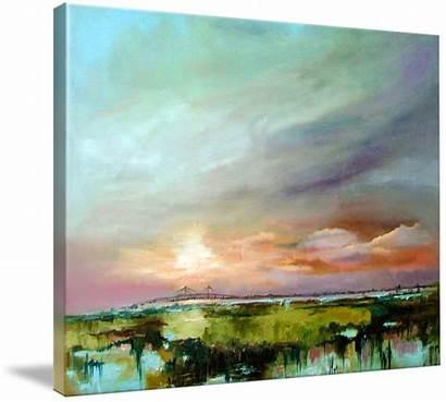 Marsh Salt Sunset Painting Oil Ginette Callaway
