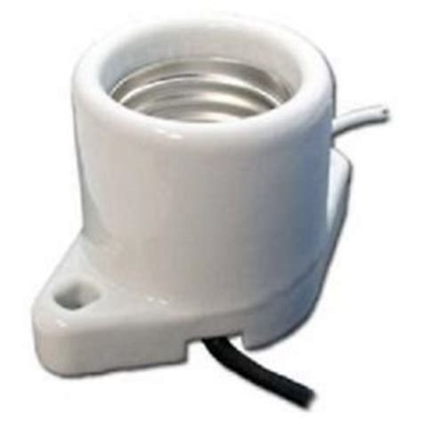 Porcelain L Socket With Leads surface mount medium base porcelain socket leads 6 quot holes