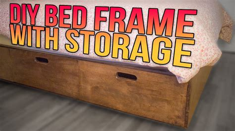 build  queen bed frame   lot  storage youtube