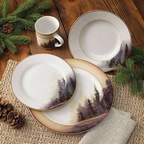 misty forest dinnerware set  pcs rustic cabin decor