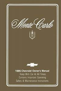 1985 Chevrolet Monte Carlo Owners Manual User Guide