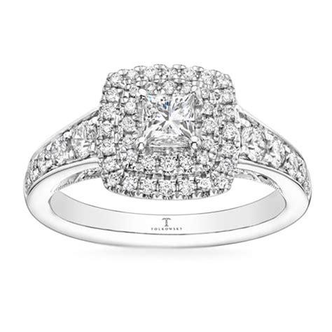tolkowsky engagement ring 1 ct tw diamonds 14k white gold