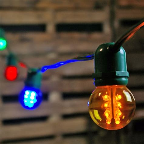 commercial led globe string lights 48 foot green wire