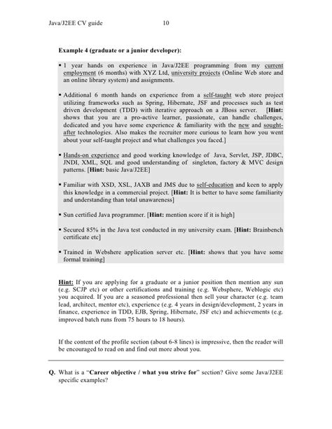 Cv Guide by Java J2ee Cv Guide