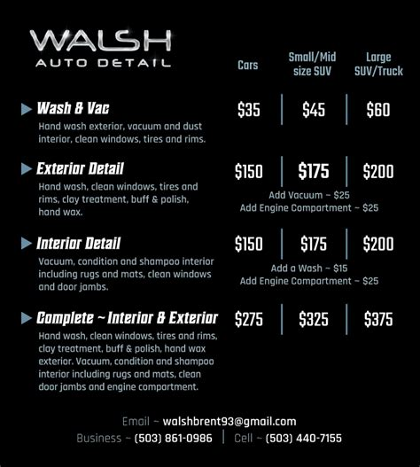 car detailing price list template walsh auto detail seaside oregon